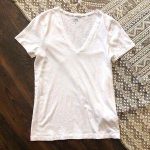 J. Crew White V-neck Short Sleeve Tissue Tee M